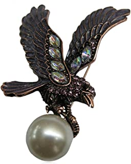 Women Brooch, Stainless Steel Pearl Eagle Brooches and Pins Wedding Brooch Black