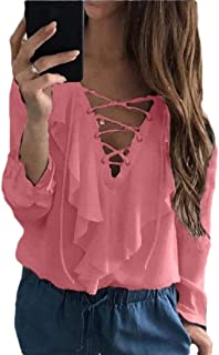 Women's Criss Cross Casual Shirt Long Sleeve V-Neck Top Lace up Blouse