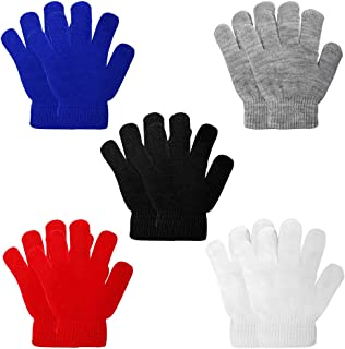 5 Pairs Kids Gloves Kids Knit Gloves Winter Stretchy Knit...