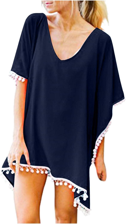 Beppter Women's Boho Crochet Chiffon Tassel Swimsuit Beach Bathing Suit Cover Ups for Swimwear Bathing Suit M