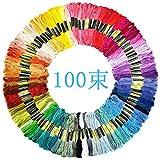 100束 x 100色 刺しゅう糸 初心者 高質量 多色鮮やかな縫い糸 クロスステッチ 刺繍セット 刺繍系 ミサンガ