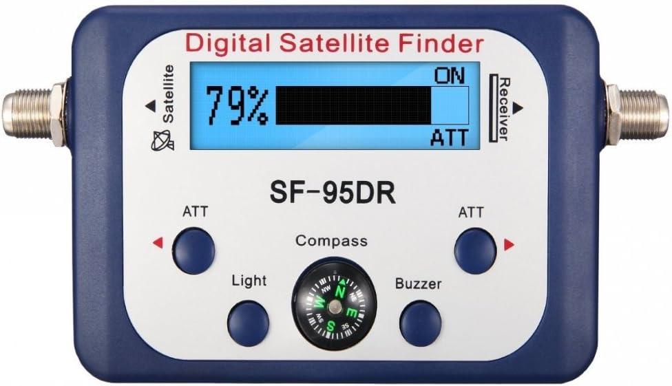 JZK SF-95DR buscador satélites Digital localizador satélite Digital con Cable de conexión satélites señal Detector para orientar la parabólica TVHD medidor Digital Pantalla LCD