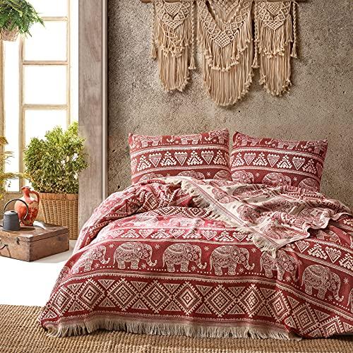 Class Home Collection Premium Tagesdecke | Bettüberwurf mit Fransen | Kuscheldecke 220x240 cm | Extra große Wohndecke | Sofadecke 100prozent Baumwolle | Elefant Muster | Bordeaux