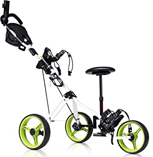 Tangkula Golf PushCart Swivel Foldable 3 Wheel Push Cartle Carton