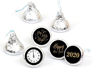 New Year's Eve - Gold - Round Candy 2020 New Years Eve Sticker Favors - Labels Fit Hershey's Kisses (1 Sheet of 108)