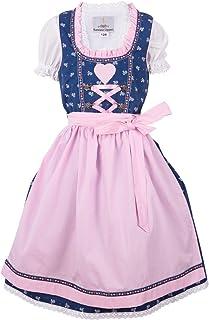 Ramona Lippert Kinder Dirndl für Mädchen - Kinderdirndl Julie in Blau mit Herz Verzierung - 3-teiliges Trachtenkleid - Trachtenmode - Tracht mit Schürze