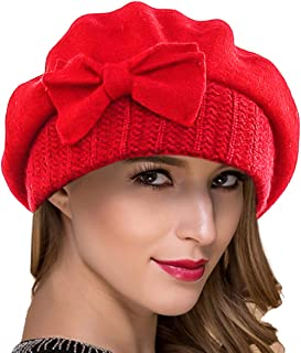 2c3097cba218e Ruphedy Women French Beret Knit Wool Beret Beanie Winter Dress Hats Hy022