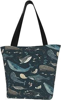 """Lesif Einkaufstaschen, Whale""""s Song, dunkelblau, Segeltuch, Einkaufstasche, wiederverwendbar, faltbar, Reisetasche, groß und langlebig, robuste Einkaufstaschen"""