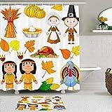LISNIANY Conjunto De Ducha Cortina Alfombra,Peregrino de Acción de Gracias India Turquía Otoño Cartoon Cartoon Harina de maíz,Uso en baño, Hotel