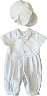 BBVESTIDO Soft Thick Cotton Christening Baptism Outfits for Boys with Hat 0691B