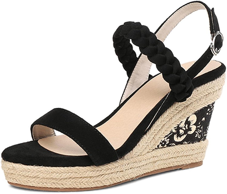 Black Elegant High Heel Open-Toe Sandals Summer Fashion Women's Wedges Sandals (color   Black, Size   37)
