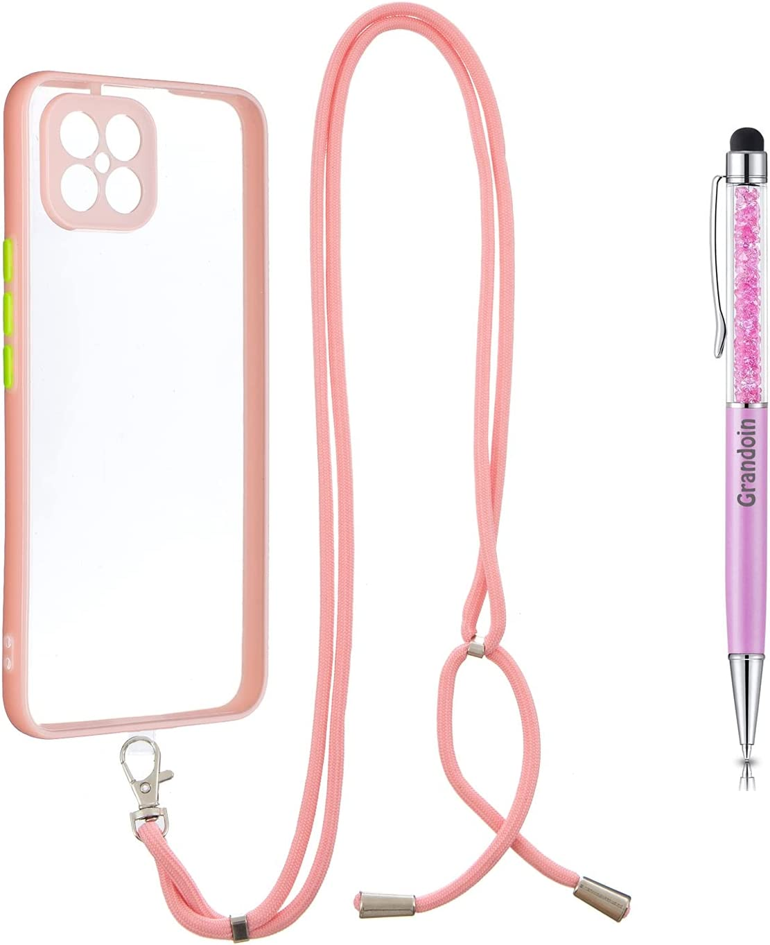 Grandoin Crossbody Case for Huawei Nova 8 Se, Lanyard Case Necklace Mobile Phone Cover with Adjustable Cord Strap, Clear Transparent TPU Cover Holder with Neck Cord Lanyard Strap (Pink)