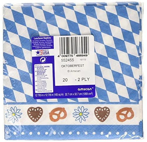 Amscan International Bayerische Servietten, 33cm (Blau / Weiß)