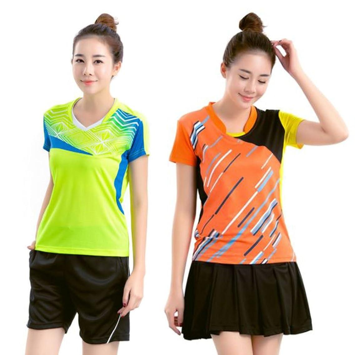 吸収するお気に入り憤るmonoii 卓球 ユニフォーム シャツ ウェア ゲーム シャツ 半袖 レディース 上下 セット