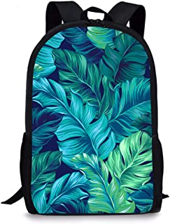 Tropical Palm Leaves School Backpack, Vimmucir Unisex Classic Lightweight School Bookbag with Bottle Side Pockets for Girls High School and College, 17 Inches