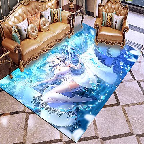 XuJinzisa Anime Azur Lane Super Soft Flannel Anti-Slip Carpet 3D Printing Living Room Bedroom Carpet Home Decoration Mat W7027 180X180Cm