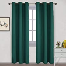 NICETOWN Thermal Insulated Solid Grommet Blackout Curtains/Drape for Living Room (Hunter Green, 1 Pair, 42 by 84-Inch)