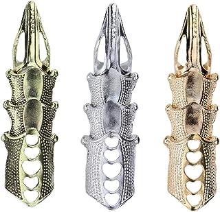 FRCOLOR 3 pz completo anello da dito armatura articolazione Punk gotico Rock articolato anello gioielli Halloween Cosplay ...
