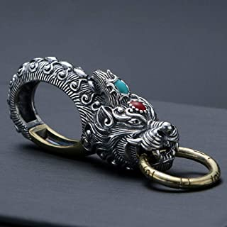 Car Keychain, Sterling Silver Retro Faucet Kirin Car Keychain, Couple Personality Creative High-End Wild Keychain,Kirin