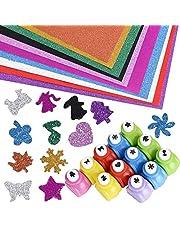 Juego de 12pcs Perforadores Formas + 10pcs Cartulinas Adhesivas de Colores A4 con Purpurina para Scrapbooking DIY Manualidades Álbumes de Fotos Tarjetas de Felicitación Tarjetas de Mesa