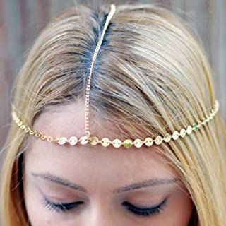 Edary Boho Head Chain Ethnic Sequins Hair Chain Jewelry Gold Head Piece for Women
