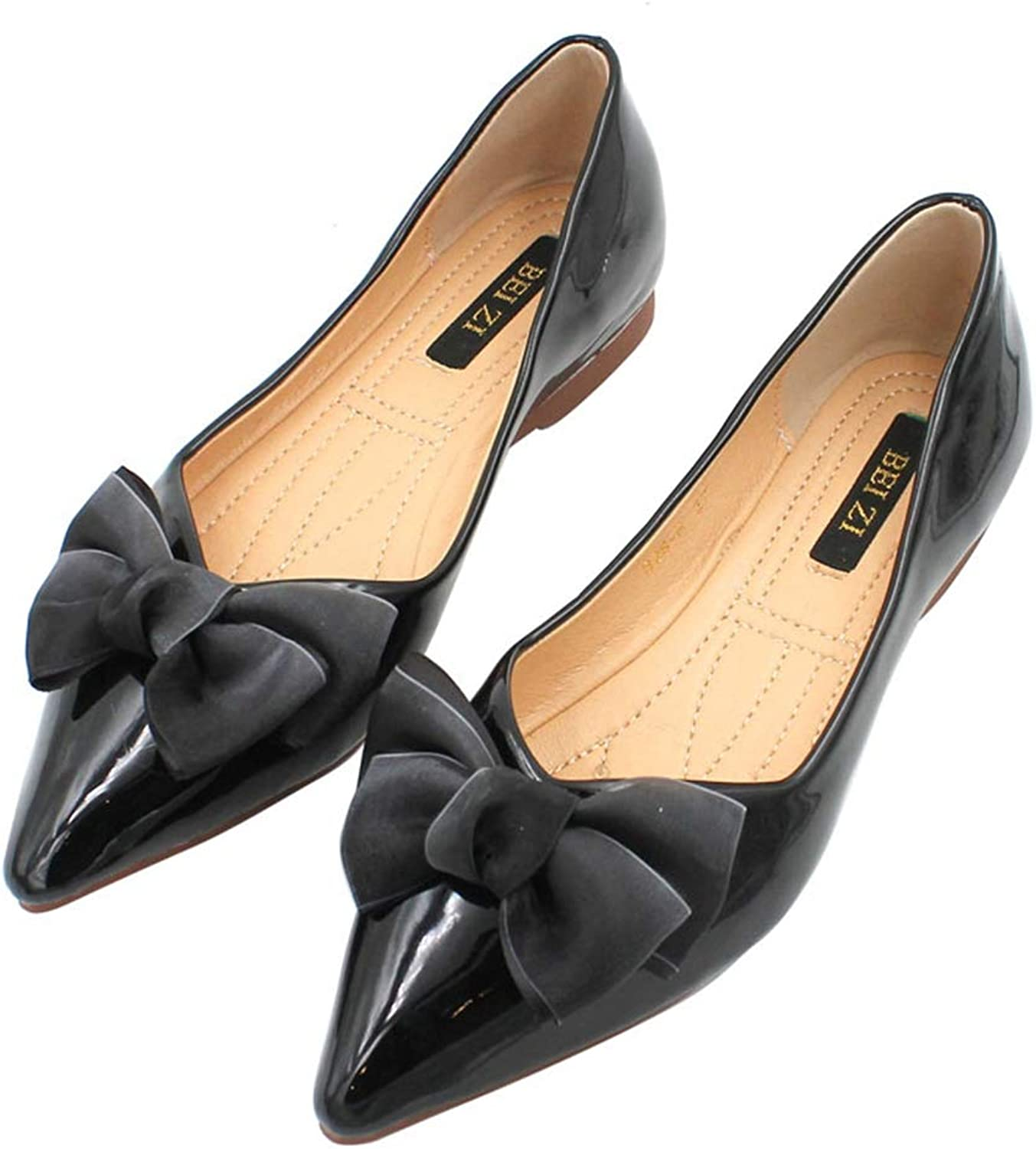August Jim Women's Flats shoes,Pointed Toe Anti-Slip PU Leather Flat shoes Black