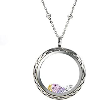 EVERLEAD Living Memory Diamond Cutting Screw Floating Locket 316l Stainless Steel Toughened Glass