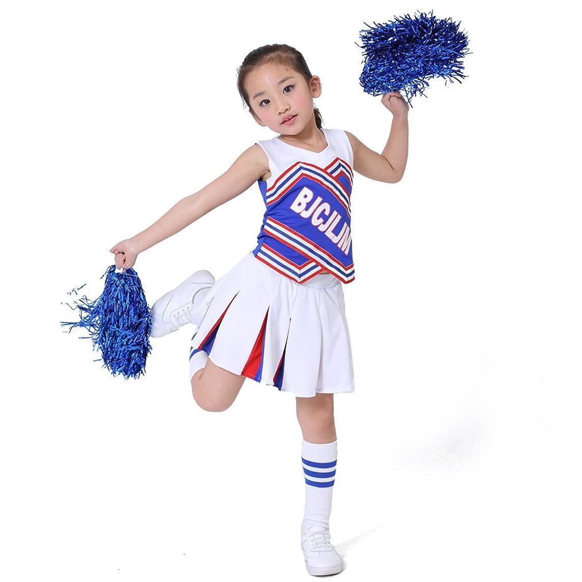 LOLANTA Children Girls Cheerleader Costume Cheerleading Outfit with Match Pom Poms Socks
