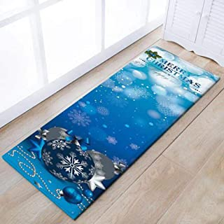 Eanpet Merry Christmas Rug Thin Runner Rug Doormat Xmas Home Decor Pet Feeding Mat Set for Kitchen Front Door Lobby (Blue Christmas Ball)