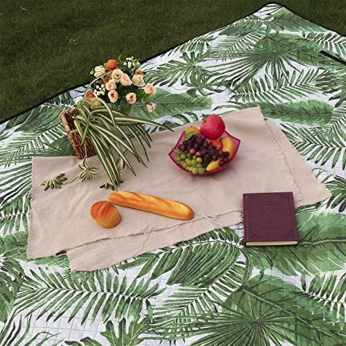 TEQStone Picknickdecke Wasserdicht Waschbar 200 X 150 cm XXL, Stranddecke Outdoordecke für Reisen, Camping, Picknick und Indoor (Blätter)