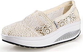 Femme Été Baskets Chaussures Compensées ShapeChaussures de Sport en Dentelle Respirant Platform Casual Souliers pour Femme...