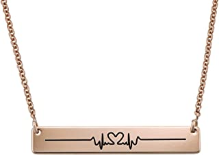 MyNameNecklace Personalized Bar with Heart Beat Cardiogram Engraved Necklace - Custom Name Jewelry Valentine's Day Love Gift for Her