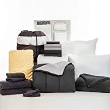 OCM 20 Piece Comfort Pak Black and Gray Twin XL College Dorm Bedding and Bath Set