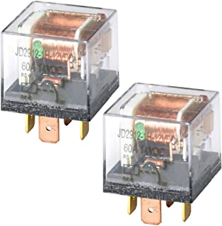 Ehdis DC 12V 60A 1NO SPST 4 Pin Relay Car Heavy Duty Split Charge Waterproof Transparent Case, Pack of 2