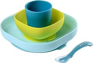 Béaba - Set vajilla de silicona con ventosa, Color Azul