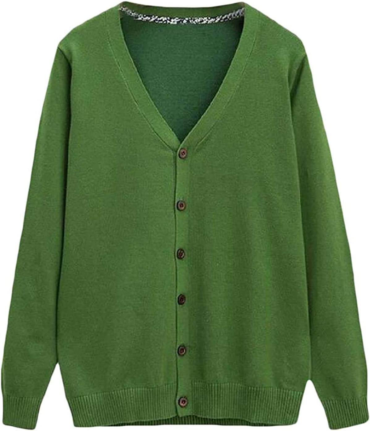 Men Cardigan Fall & Winter Knit Solid Color Button Up V-Neck Open-Front Sweater Jumper