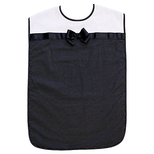 Ladies Adult Bib, Black Polka-Dot Pattern with Bowtie, Frenchie Mini Couture