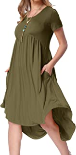 levaca Women's Scoop Neck Pockets High Low Pleated Loose...