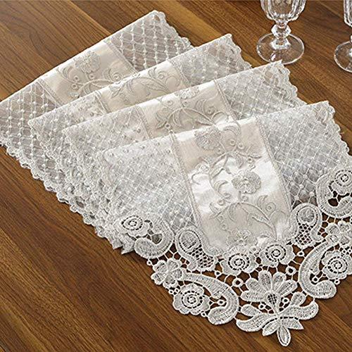 INGHU Spitzen-Tischläufer mit floralem Muster, Stickerei, Tischdecke, klassisch, romantisch, gehäkelt, weiße Spitze, Tischdecke für Hochzeit, Festival, Event, Party