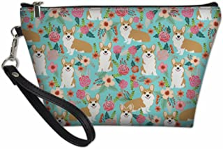SANNOVO Women Toiletry Bags with Hanging Rope Cute Corgi 3D Print Gift for Girls