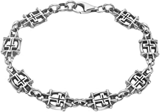 Sterling Silver Framed Cross Links Bracelet