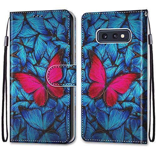Nadoli Handyhülle Leder für Samsung Galaxy S10e,Bunt Bemalt Blau Rot Schmetterling Trageschlaufe Kartenfach Magnet Ständer Schutzhülle Brieftasche Ledertasche Tasche Etui