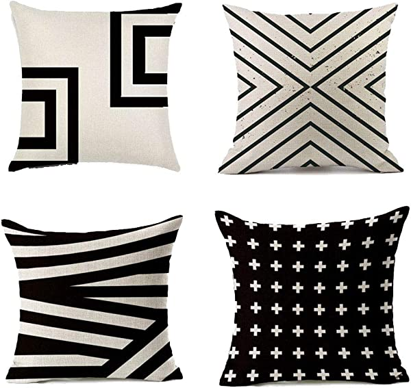 Yokepo Durable Cotton Linen Square Decorative Throw Pillows Cushion Covers Cases Pillowcases For Sofa 18 X18 Inch Set Of 4 Black Series