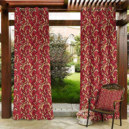 Leaves Windproof Grommet Outdoor Curtain Abstract Colored Foliage Pattern with Coming of The Spring Theme Image for Front Porch Covered Patio Gazebo Dock Beach Home 120x96 INCH,Verimilion Ruby Beige