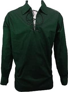 Men's Long Sleeve Shirt, Jacobite Ghillie Shirt for Kilts, w/Leather Tie