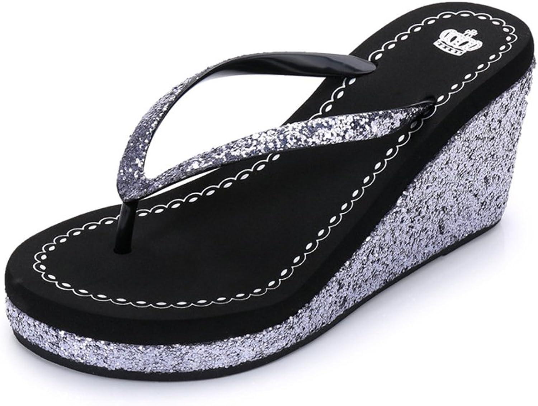 FORTUN Sequins flip Flops Women's Beach shoes Fashion Clip Toe Wedge Sandals