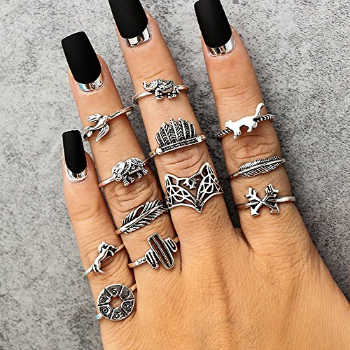 jieGorge 12PC Set Women Punk Vintage Finger Knuckle Rings Joint Ring Jewelry Set Gift , Rings , Products for Christmas