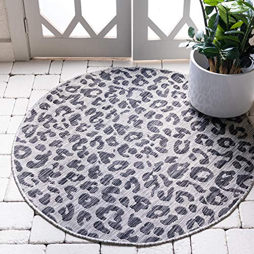 Unique Loom Outdoor Safari Collection Leopard Animal Print Transitional Indoor and Outdoor Flatweave Light Gray Round Rug (4' 0 x 4' 0)