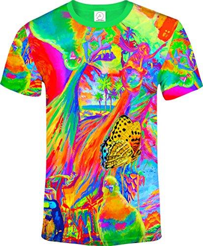 花の動物の女の子ハト鳥蝶象猫ブラックライトUVネオン蛍光プリントTシャツ男性
