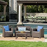 Christopher Knight Home Daytona Outdoor Faux Wicker Rattan Style Chat Set with...